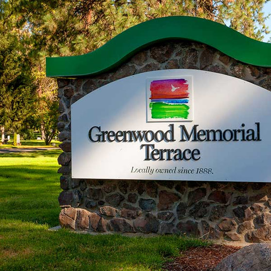Entrance sign to Greenwood Memorial Terrace