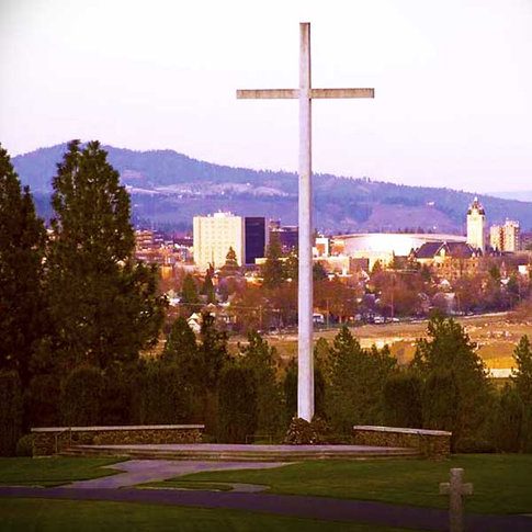The Cross of Inspiration with its view of Spokane.