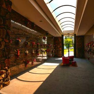 Natural light illuminates the interior of Pines Mausoleum