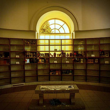 Glass-front display niches in Riverside Mausoleum
