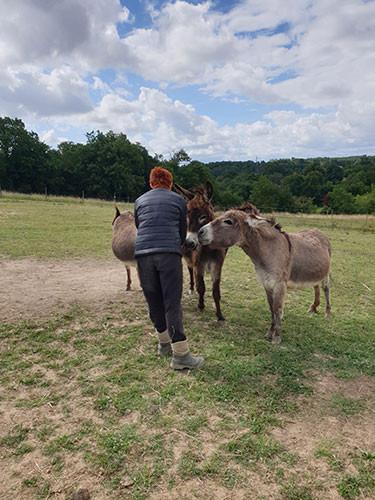 Corinne, salariée en insertion, et les 3 ânes des Jardins de Cocagne de Fleurance