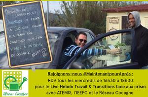 """Retrouvez chaque mercredi de 16h30 à 18h le Live Hebdo """"Travail et Transitions face aux crises"""""""