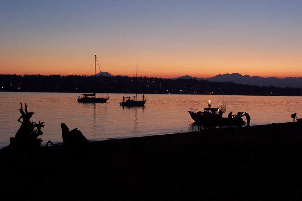Blake Island State Park looking at the Olympic Mountains at sunset