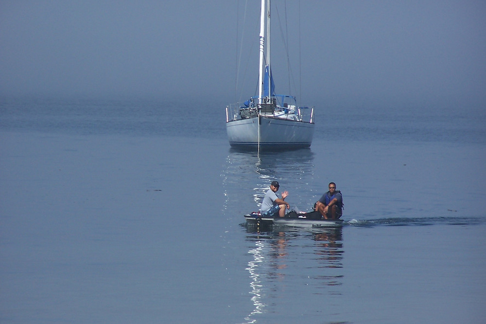 LR Santos and Randy barely afloat arriving at Blake Island State Park