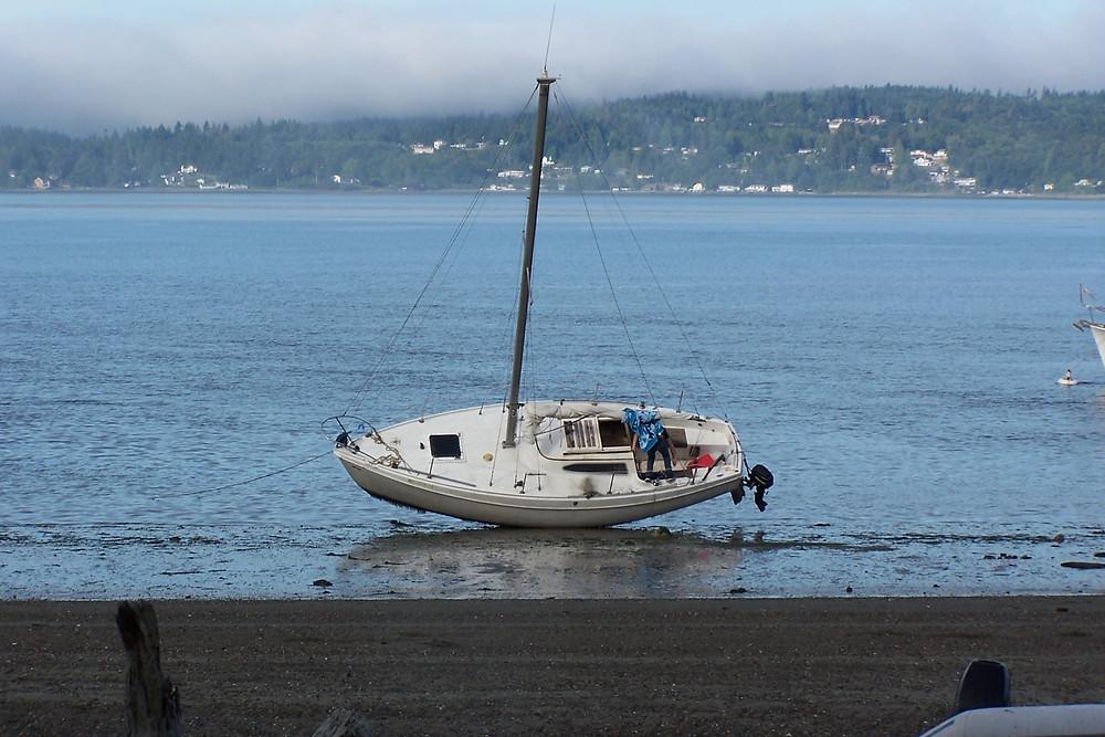 Beached sailboat at Blake Island State Park
