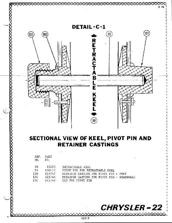retractable keel bracket for chrysler 22 sailboat