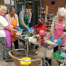 Group of people baking at our Moss Side group