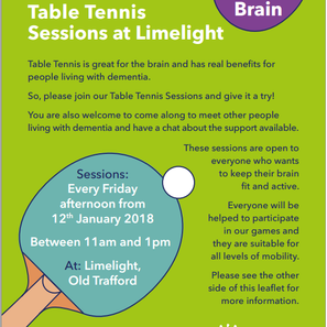 Games For The Brain: Table Tennis Sessions for People Living with dementia and Carers