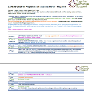 Carers' Drop-in Programme for March-June 2019