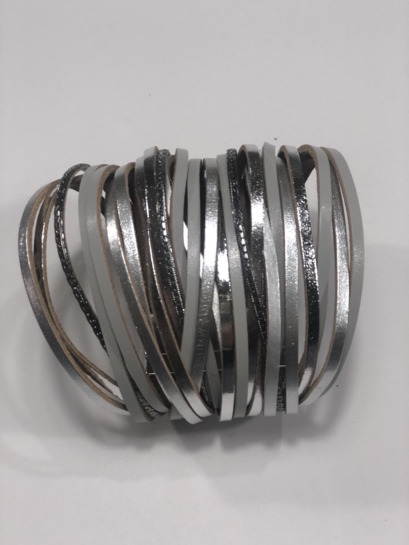 Thumbnail: Multi Strand Silver Tones Magnetic Bracelet