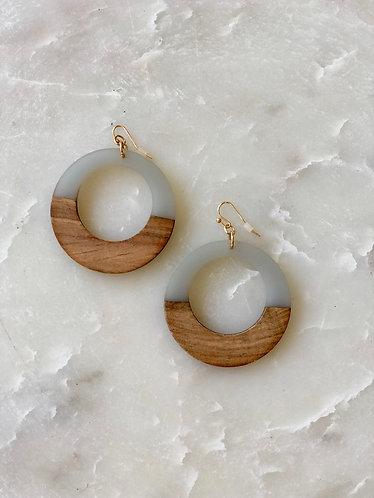Gray/Wood Circle Earrings