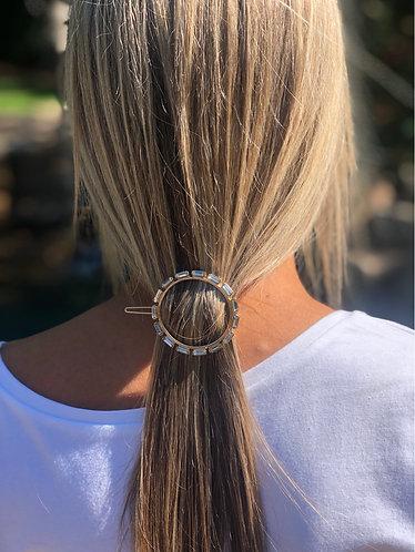 Round Rectangle Stones Hair Barrette