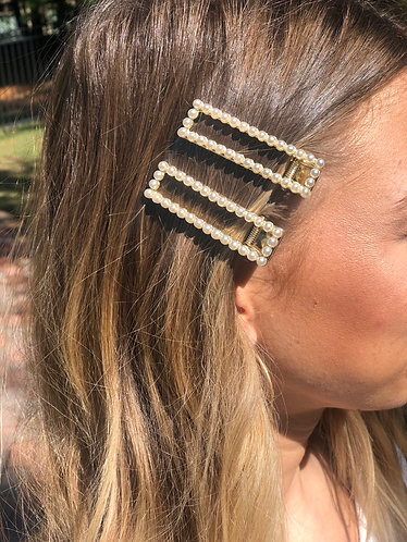 Pearl/Gold Rectangle Hair Clip