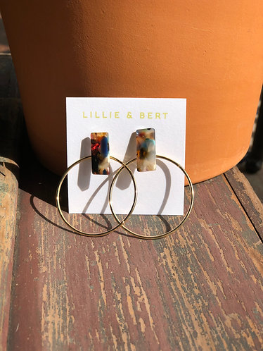 Acrylic Multi Color Square & Gold Circle Earrings