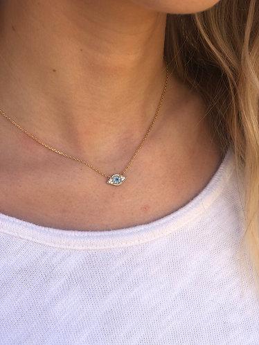 Gold Dainty Evil Eye Necklace