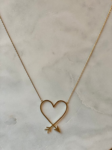 Gold Heart Arrow Necklace