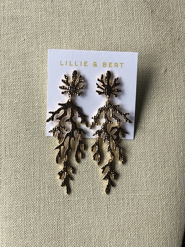 Gold Branch Coral Dangle Earrings