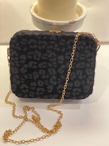 Grove Hard Black Leopard Evening Bag