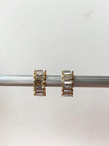 Gold/Clear Crystal Stone Hoop Earrings