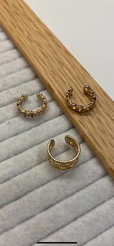 Gold Three Piece Ear Cuffs
