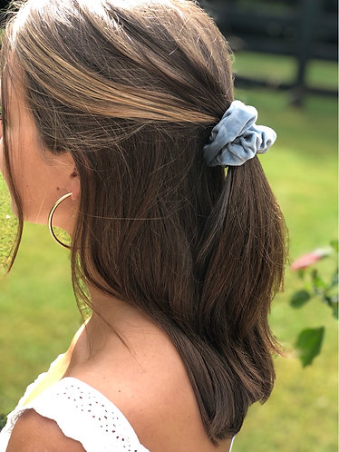 Blue Velvet Hair Scrunchie