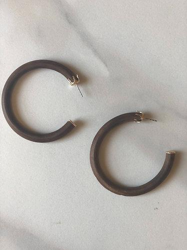 Thick Wooded Hoop Earrings