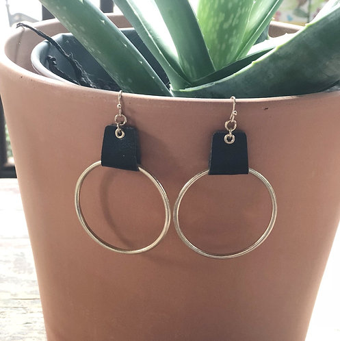 Black Leather Strap Gold Hoops
