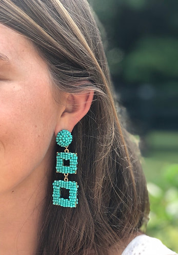 Turquoise/Gold Double Square Beaded Earrings