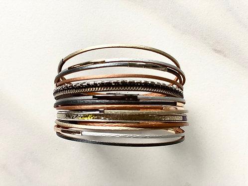 Multi Strand/Multi Tone Faux Leather Bracelet