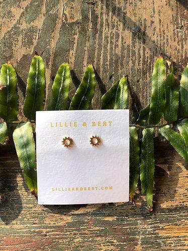 Tiny Gold Gear Earrings