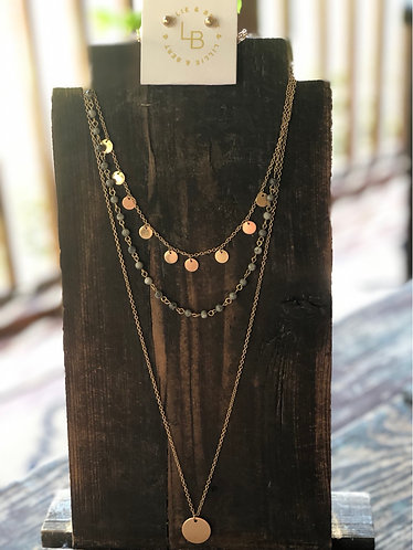 Triple Layer Gold/Bead Necklace
