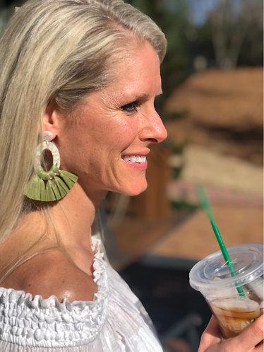 Green Oval Resin & Raffia Earrings