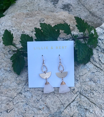 Gold Half Moon Pink Stone Drop Earrings