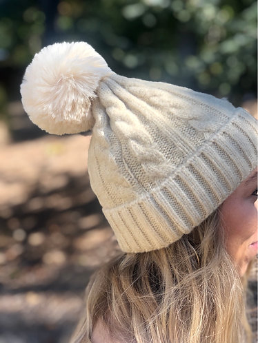 Beige Cable Knit Pom Beanie