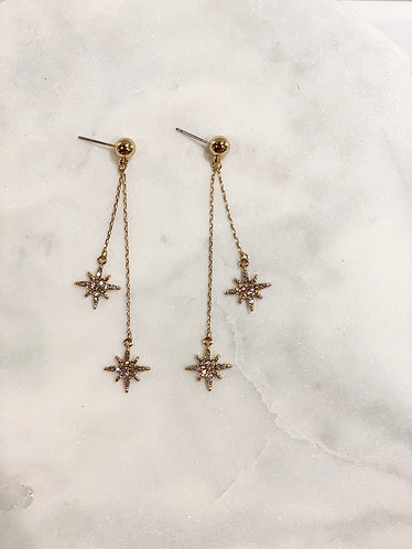 Double Chain Star Drop Earrings