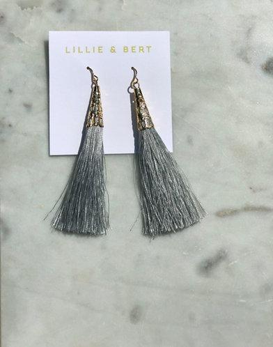 Gray Tassel Drop Earrings