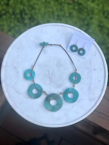 Turquoise Acetate Link Necklace