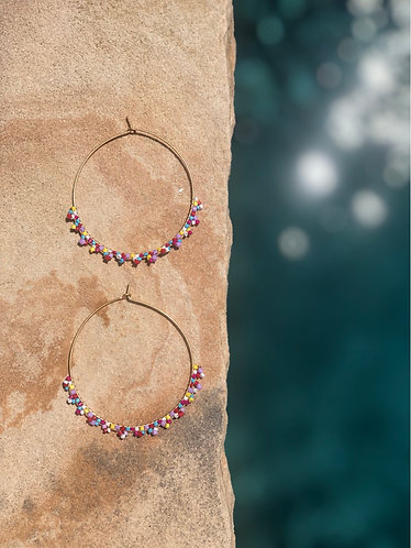 Dainty Multi Colored Beaded Hoops