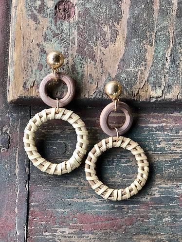 Natural Round Wood/Rattan Earrings
