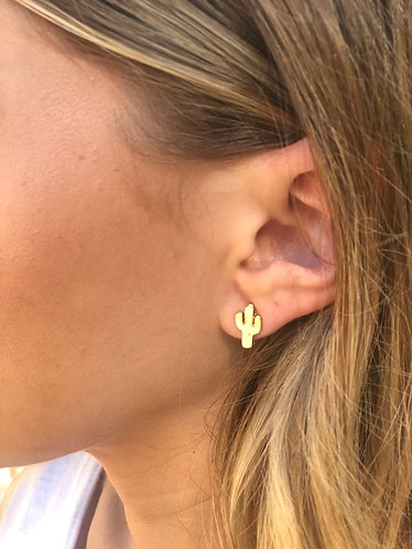 Tiny Gold Cactus Earrings