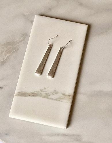 Long Bar Silver Earrings