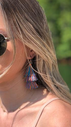 Multi Colored Layered Tassel Earrings