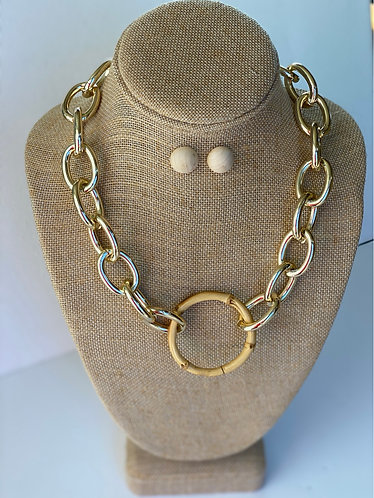 Bamboo Circle Chain Necklace