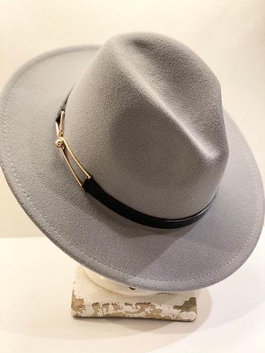 Gray Wool Banded Fedora