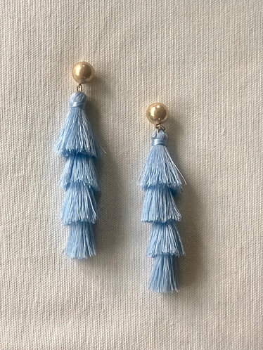 Blue Multi Level Tassel Earrings