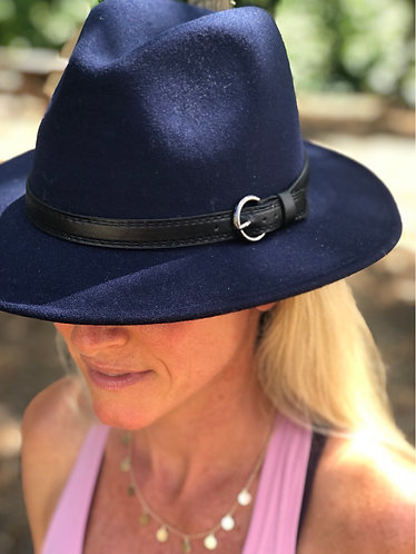 Blue Felt Hat w/Black Band
