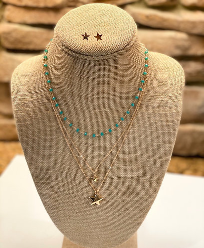 Turquoise, Star Layer Necklace
