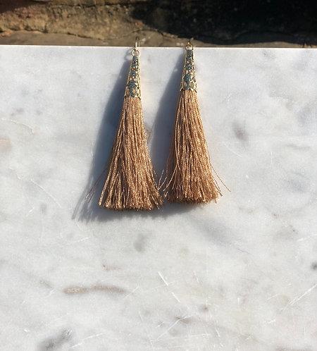 Light Brown Tassel Drop Earrings