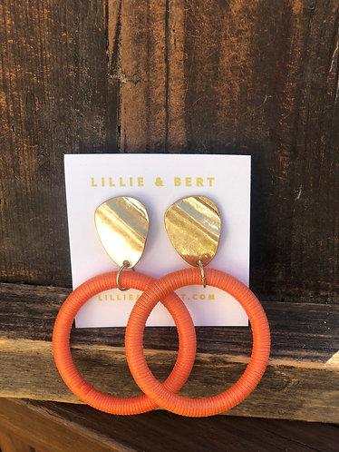 Orange/Gold Circle Hoop Earrings
