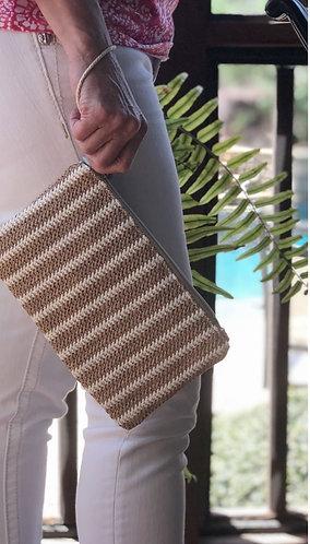 Madison striped straw clutch
